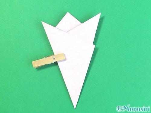 折り紙で立体的なハイビスカスの折り方手順18