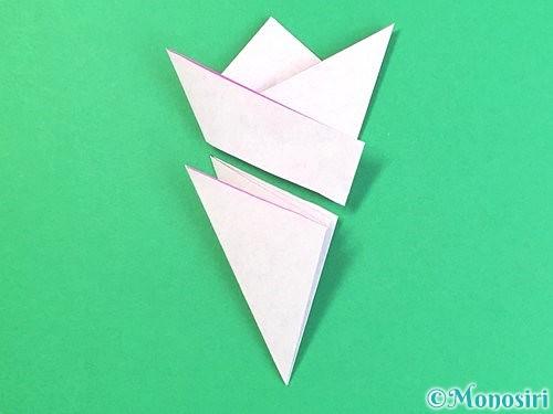 折り紙で立体的なハイビスカスの折り方手順20