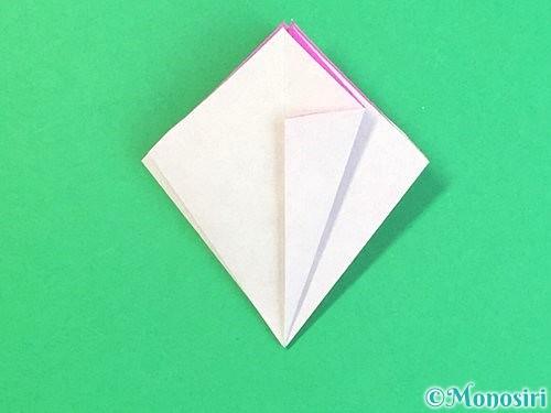 折り紙で立体的なハイビスカスの折り方手順28