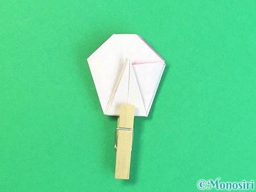 折り紙で立体的なハイビスカスの折り方手順33