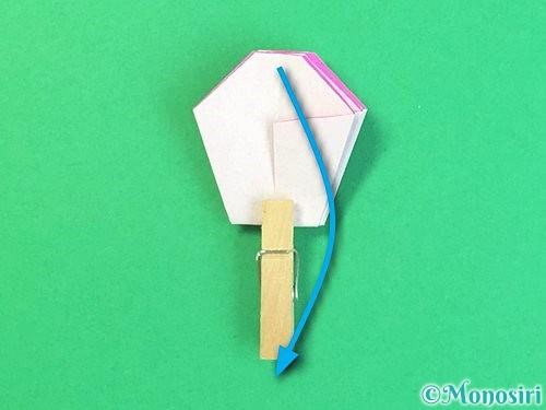 折り紙で立体的なハイビスカスの折り方手順35