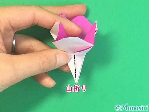 折り紙で立体的なハイビスカスの折り方手順38