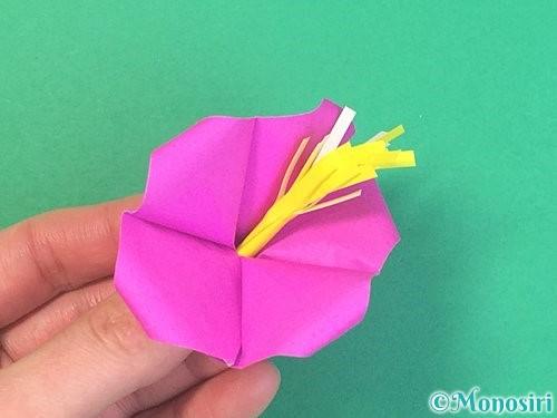 折り紙で立体的なハイビスカスの折り方手順59