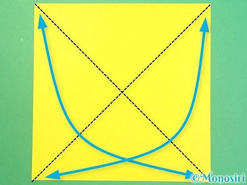 折り紙で椿の折り方手順1