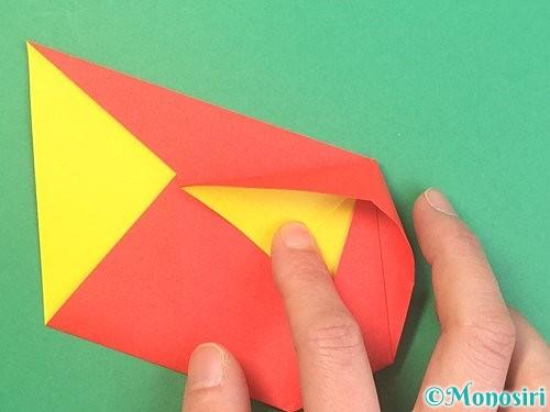 折り紙で椿の折り方手順16