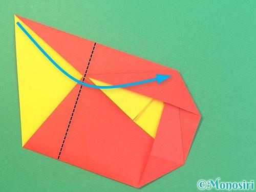 折り紙で椿の折り方手順18