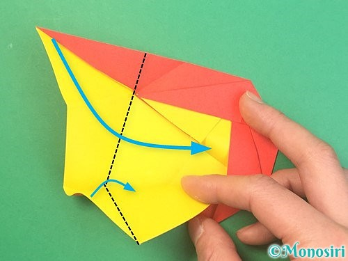 折り紙で椿の折り方手順25
