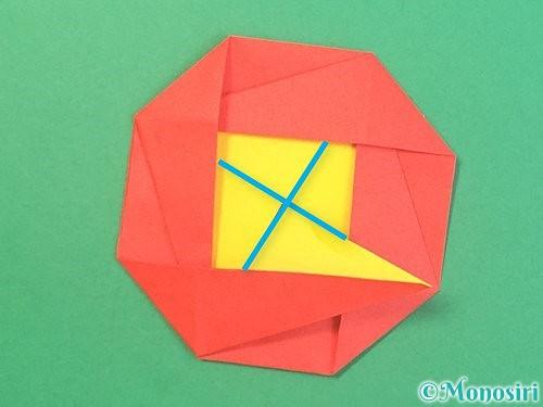 折り紙で椿の折り方手順35