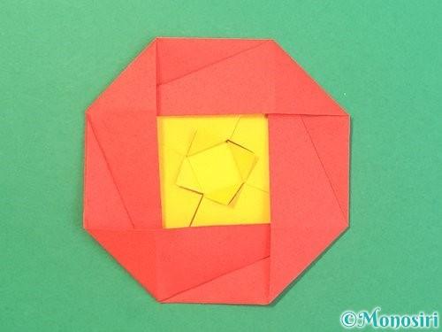 折り紙で椿の折り方手順39