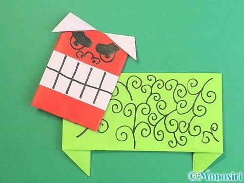 折り紙で獅子舞いの折り方手順54