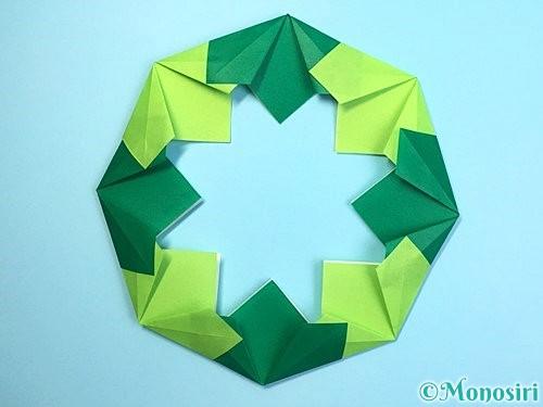 折り紙でクリスマスリースの作り方手順21