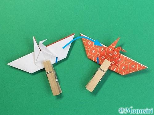 折り紙で鶴リースの作り方手順44