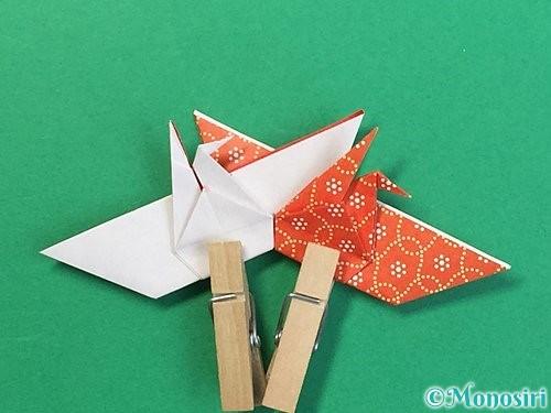 折り紙で鶴リースの作り方手順45