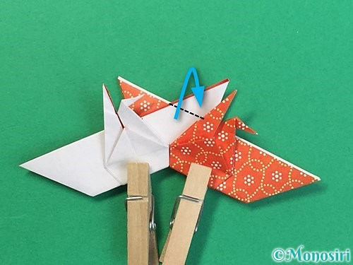折り紙で鶴リースの作り方手順46