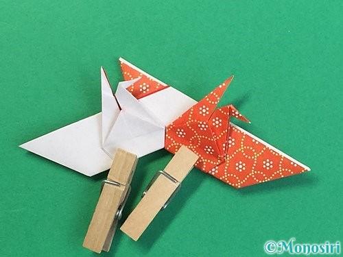 折り紙で鶴リースの作り方手順47