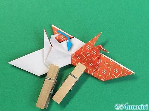 折り紙で鶴リースの作り方手順48