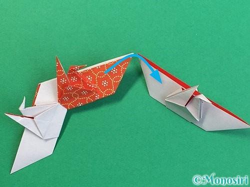 折り紙で鶴リースの作り方手順52