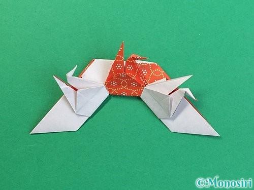 折り紙で鶴リースの作り方手順53