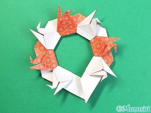 折り紙で鶴リースの作り方手順54