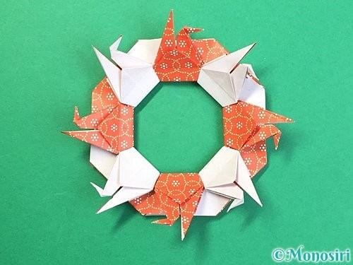 折り紙で鶴リースの作り方手順56