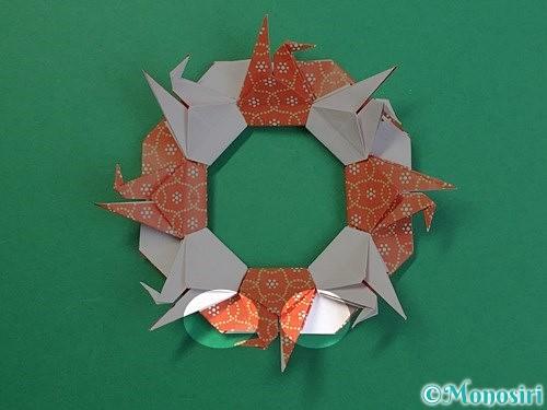 折り紙で鶴リースの作り方手順55