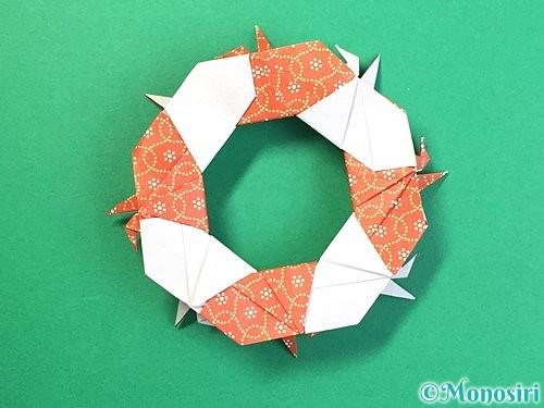 折り紙で鶴リースの作り方手順57