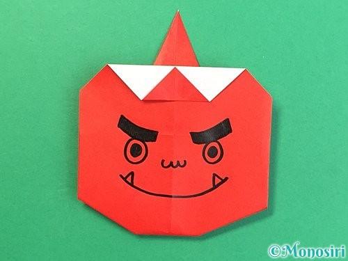 折り紙で赤鬼の顔の折り方手順20