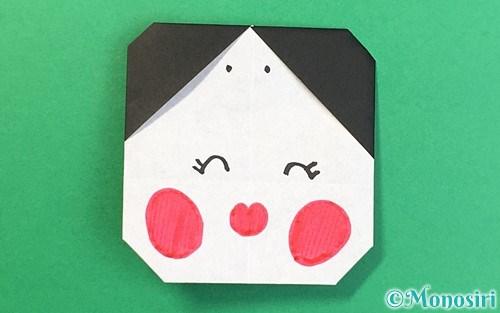 折り紙で折ったお多福