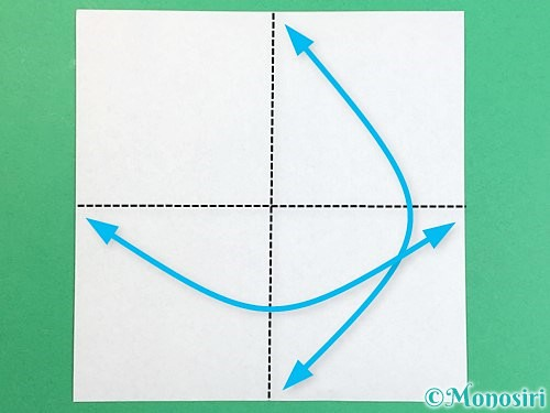 折り紙でアルファベットのXの折り方手順1