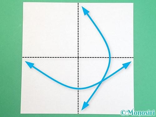 折り紙でふた付きの箱の折り方手順1