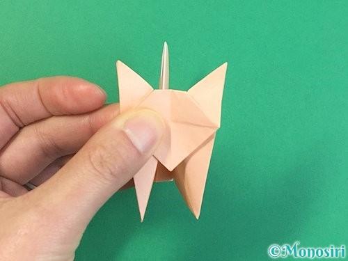 折り紙で立体的な猫の折り方手順72