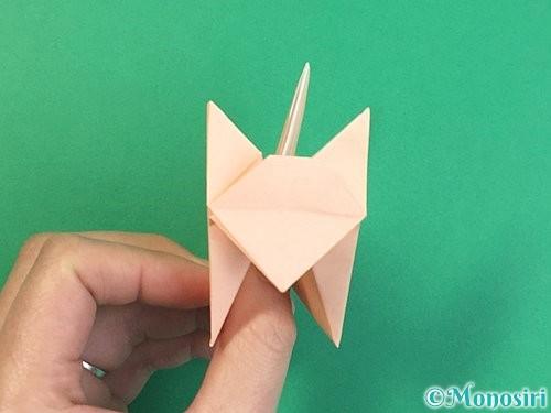 折り紙で立体的な猫の折り方手順73