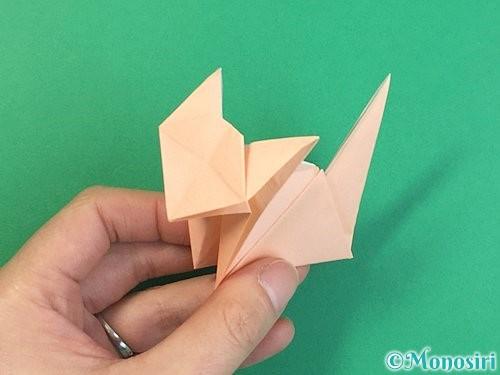 折り紙で立体的な猫の折り方手順74