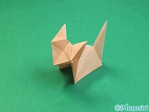 折り紙で立体的な猫の折り方手順75