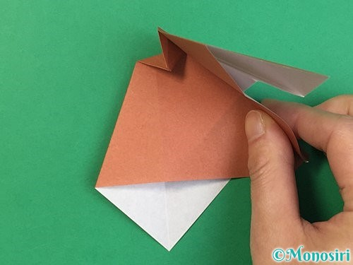 折り紙で立体的な犬の折り方手順44