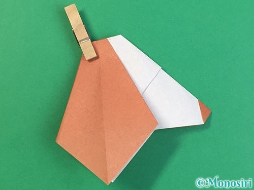 折り紙で立体的な犬の折り方手順45