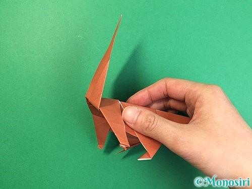 折り紙で立体的な犬の折り方手順74