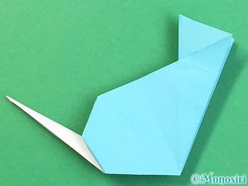 折り紙で立体的なネズミの折り方手順73