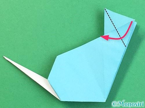 折り紙で立体的なネズミの折り方手順74