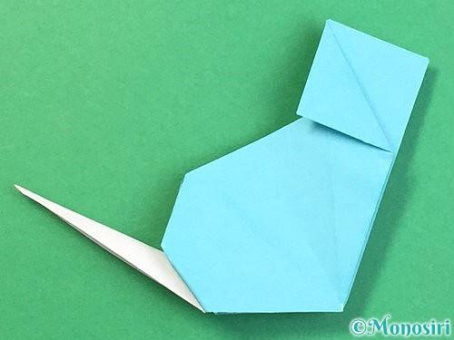 折り紙で立体的なネズミの折り方手順75
