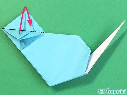 折り紙で立体的なネズミの折り方手順79