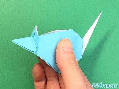折り紙で立体的なネズミの折り方手順84