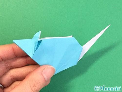 折り紙で立体的なネズミの折り方手順87