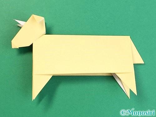 折り紙で立体的な牛の折り方手順56