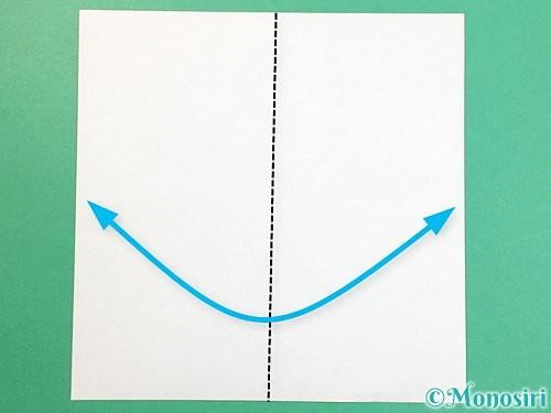 折り紙でヘビの折り方手順1