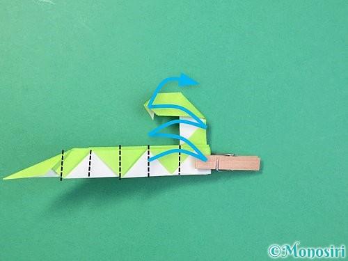 折り紙で立体的な蛇の折り方手順60