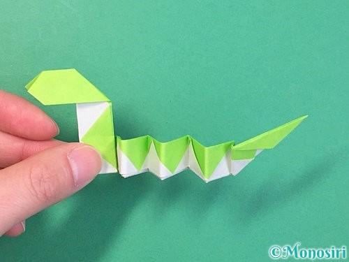 折り紙で立体的な蛇の折り方手順65