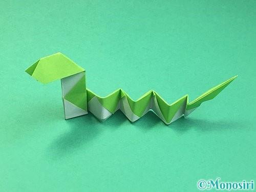 折り紙で立体的な蛇の折り方手順66