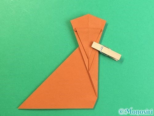 折り紙で立体的な猿の折り方手順19