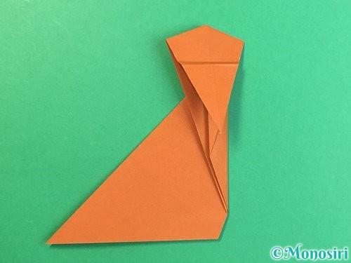折り紙で立体的な猿の折り方手順20